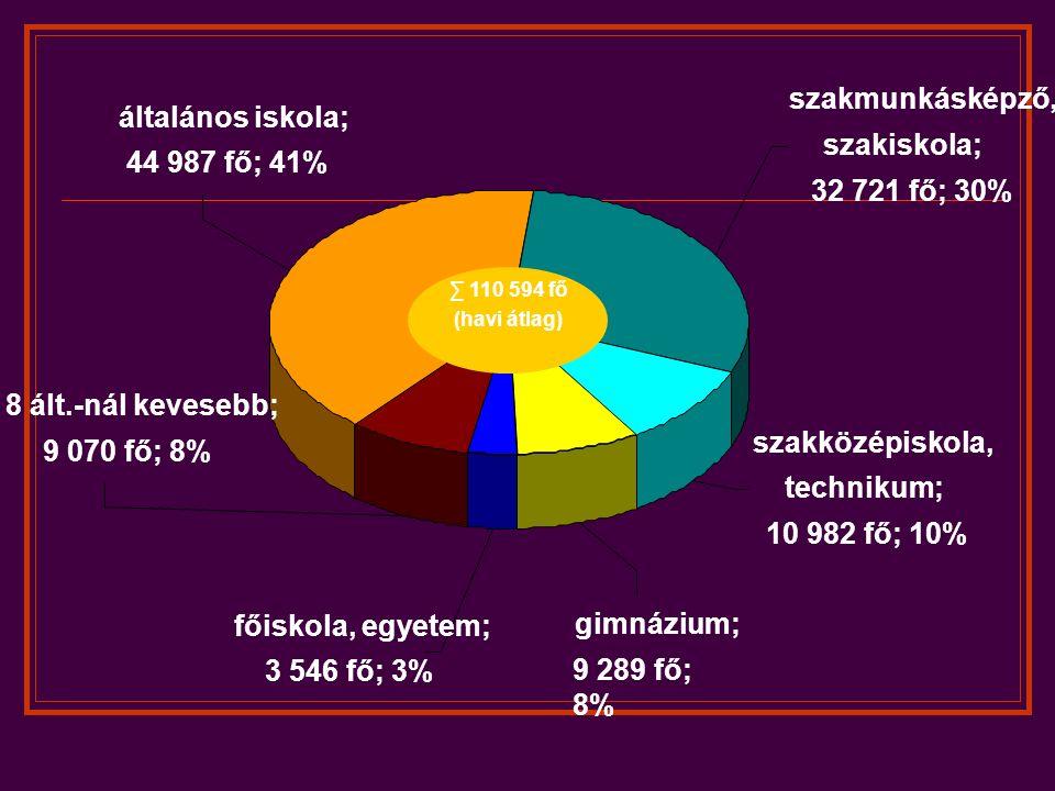 általános iskola; 44 987 fő; 41% 8 ált.-nál kevesebb; 9 070 fő; 8% főiskola, egyetem; 3 546 fő; 3% szakközépiskola, technikum; 10 982 fő; 10% gimnázium; 9 289 fő; 8% szakmunkásképző, szakiskola; 32 721 fő; 30% ∑ 110 594 fő (havi átlag)