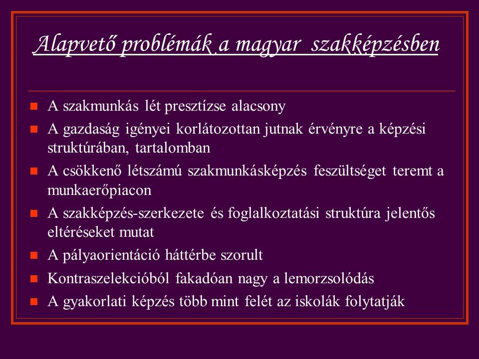 Alapvető problémák a magyar szakképzésben A szakmunkás lét presztízse alacsony A gazdaság igényei korlátozottan jutnak érvényre a képzési struktúrában, tartalomban A csökkenő létszámú szakmunkásképzés feszültséget teremt a munkaerőpiacon A szakképzés-szerkezete és foglalkoztatási struktúra jelentős eltéréseket mutat A pályaorientáció háttérbe szorult Kontraszelekcióból fakadóan nagy a lemorzsolódás A gyakorlati képzés több mint felét az iskolák folytatják