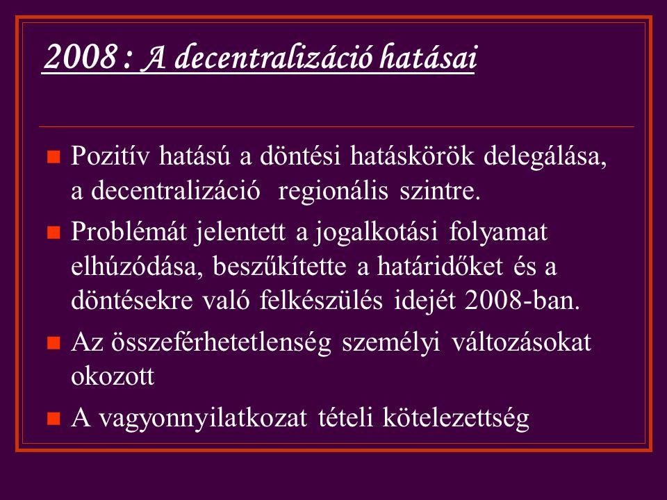 2008 : A decentralizáció hatásai Pozitív hatású a döntési hatáskörök delegálása, a decentralizáció regionális szintre.