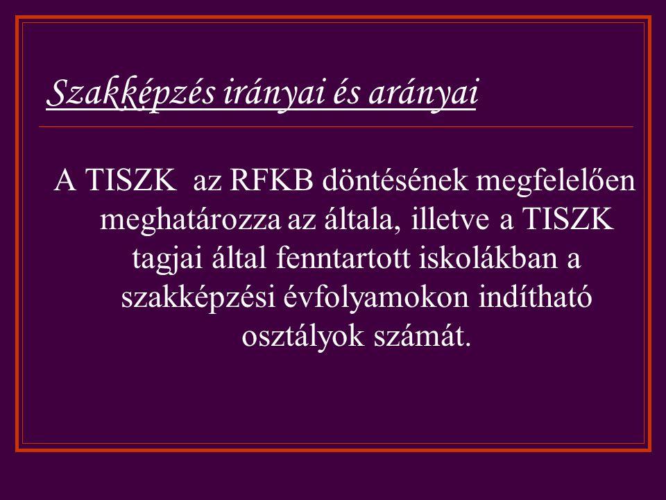 Szakképzés irányai és arányai A TISZK az RFKB döntésének megfelelően meghatározza az általa, illetve a TISZK tagjai által fenntartott iskolákban a szakképzési évfolyamokon indítható osztályok számát.