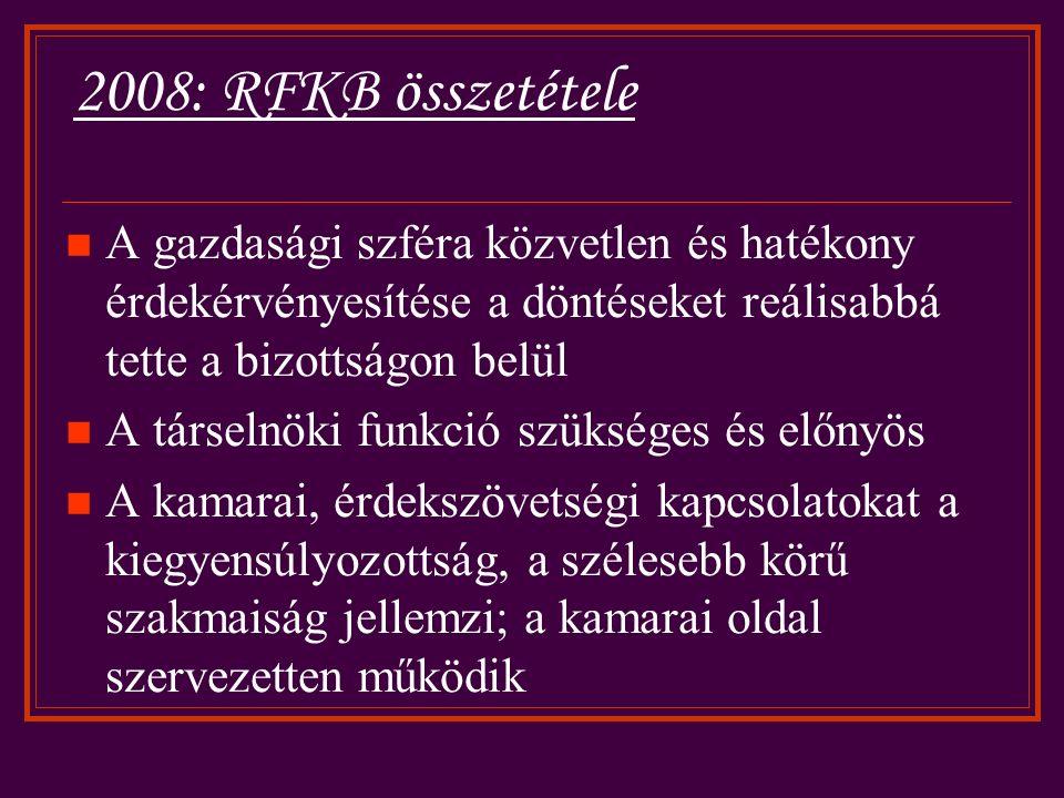 2008: RFKB összetétele A gazdasági szféra közvetlen és hatékony érdekérvényesítése a döntéseket reálisabbá tette a bizottságon belül A társelnöki funkció szükséges és előnyös A kamarai, érdekszövetségi kapcsolatokat a kiegyensúlyozottság, a szélesebb körű szakmaiság jellemzi; a kamarai oldal szervezetten működik