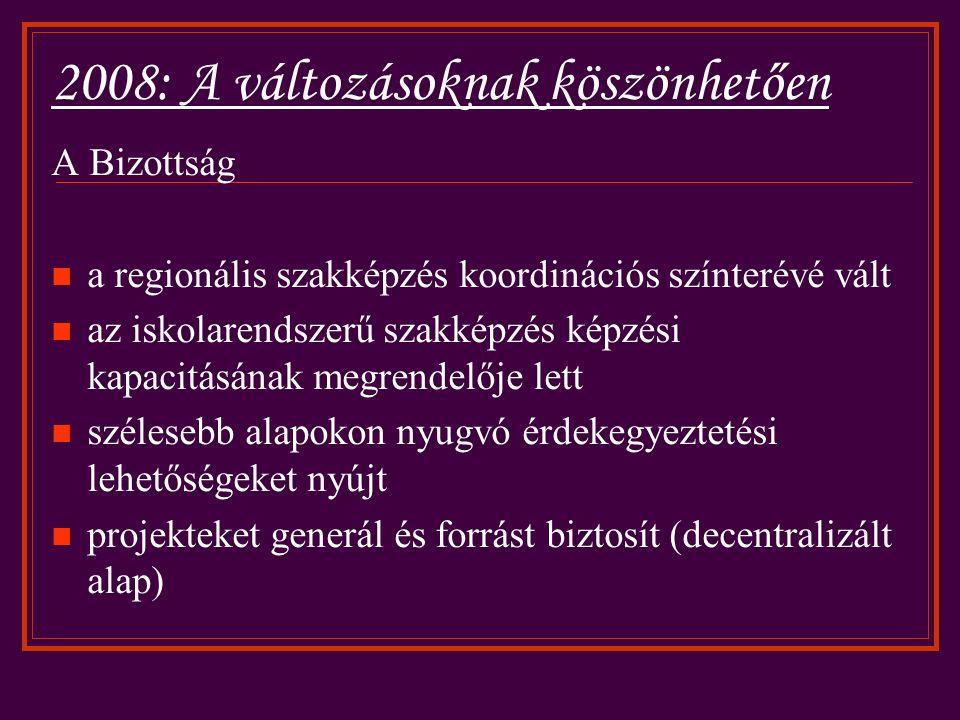2008: A változásoknak köszönhetően A Bizottság a regionális szakképzés koordinációs színterévé vált az iskolarendszerű szakképzés képzési kapacitásának megrendelője lett szélesebb alapokon nyugvó érdekegyeztetési lehetőségeket nyújt projekteket generál és forrást biztosít (decentralizált alap)