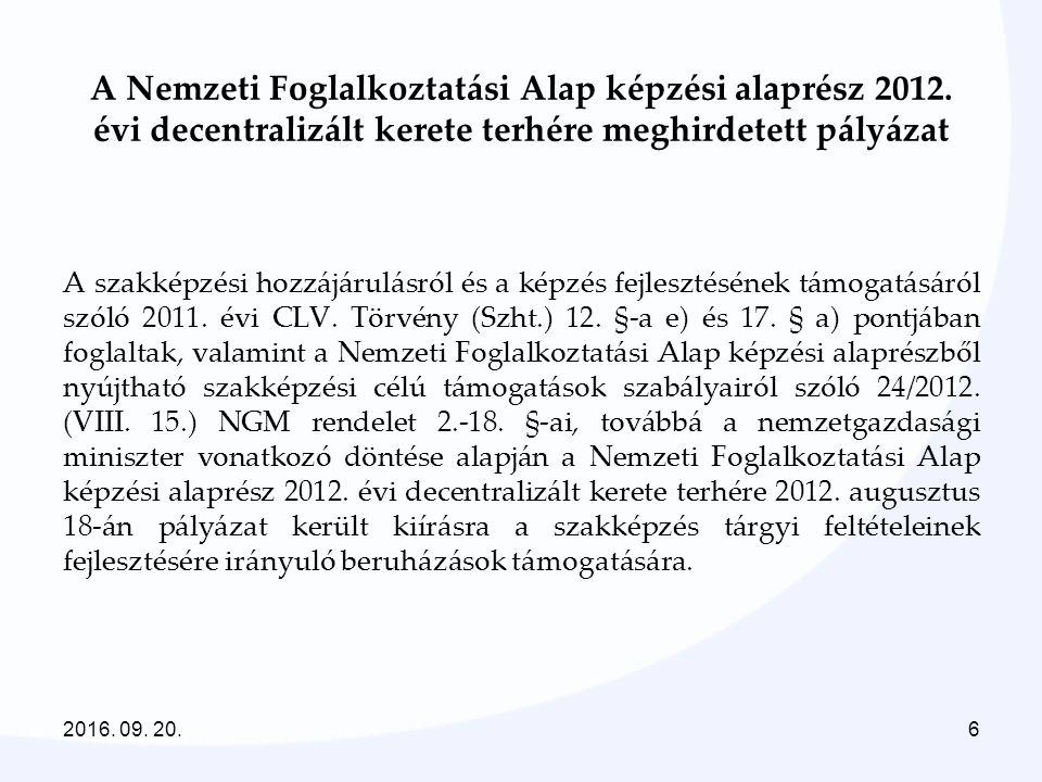 6 A Nemzeti Foglalkoztatási Alap képzési alaprész 2012. évi decentralizált kerete terhére meghirdetett pályázat A szakképzési hozzájárulásról és a kép