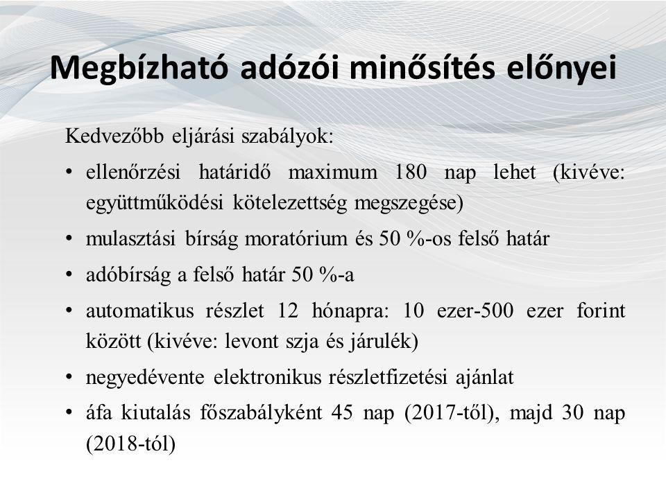 Megbízható adózói minősítés előnyei Kedvezőbb eljárási szabályok: ellenőrzési határidő maximum 180 nap lehet (kivéve: együttműködési kötelezettség megszegése) mulasztási bírság moratórium és 50 %-os felső határ adóbírság a felső határ 50 %-a automatikus részlet 12 hónapra: 10 ezer-500 ezer forint között (kivéve: levont szja és járulék) negyedévente elektronikus részletfizetési ajánlat áfa kiutalás főszabályként 45 nap (2017-től), majd 30 nap (2018-tól)