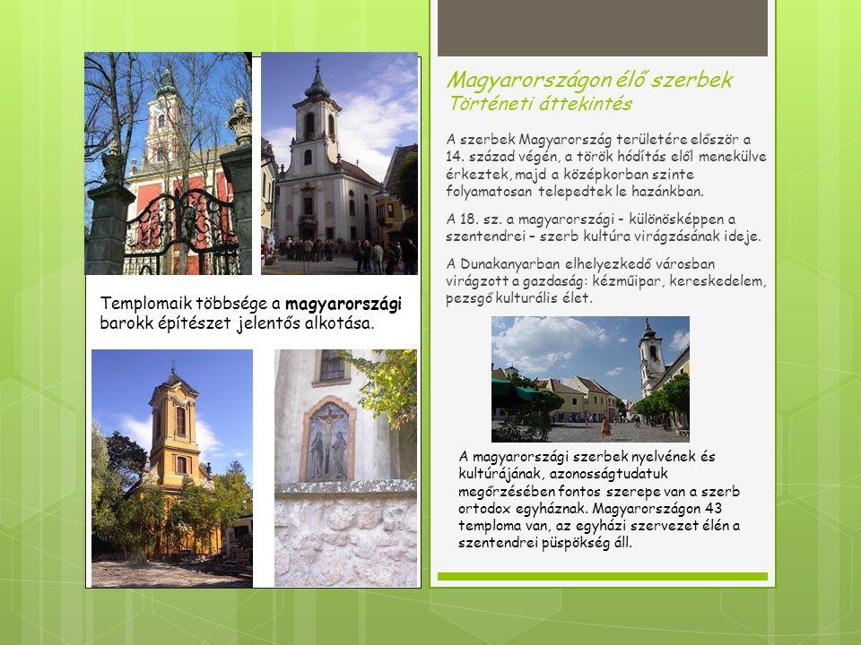 Napjainkban Demográfiai jellemzők 2011-ben a magyar állampolgárok közül 7210-en vallották magukat szerb nemzetiségűnek.