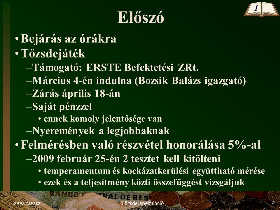 2009.tavaszTőzsdei spekuláció5 I.