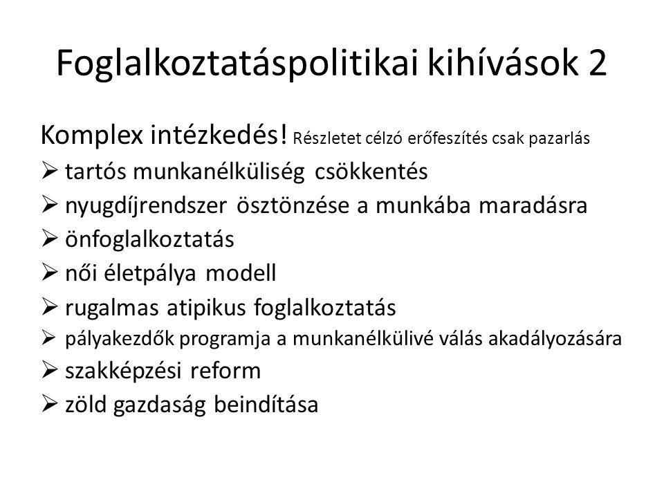 Foglalkoztatáspolitikai kihívások 2 Komplex intézkedés.
