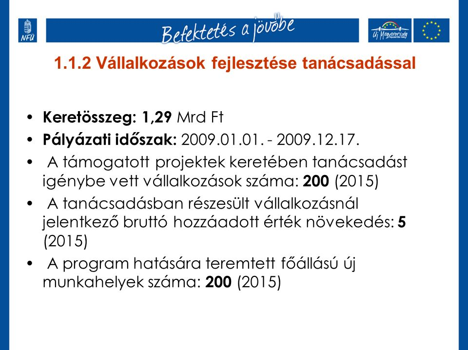 1.1.2 Vállalkozások fejlesztése tanácsadással Keretösszeg: 1,29 Mrd Ft Pályázati időszak: 2009.01.01.