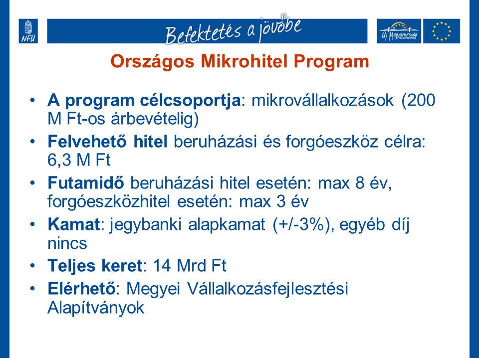 Országos Mikrohitel Program A program célcsoportja: mikrovállalkozások (200 M Ft-os árbevételig) Felvehető hitel beruházási és forgóeszköz célra: 6,3 M Ft Futamidő beruházási hitel esetén: max 8 év, forgóeszközhitel esetén: max 3 év Kamat: jegybanki alapkamat (+/-3%), egyéb díj nincs Teljes keret: 14 Mrd Ft Elérhető: Megyei Vállalkozásfejlesztési Alapítványok