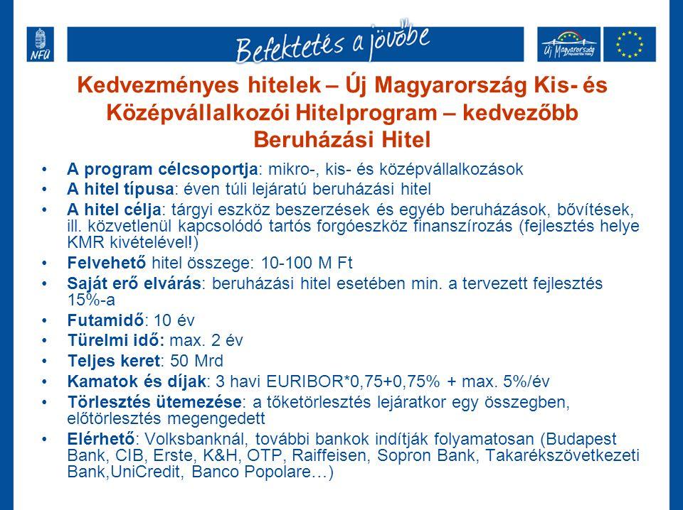 Kedvezményes hitelek – Új Magyarország Kis- és Középvállalkozói Hitelprogram – kedvezőbb Beruházási Hitel A program célcsoportja: mikro-, kis- és középvállalkozások A hitel típusa: éven túli lejáratú beruházási hitel A hitel célja: tárgyi eszköz beszerzések és egyéb beruházások, bővítések, ill.