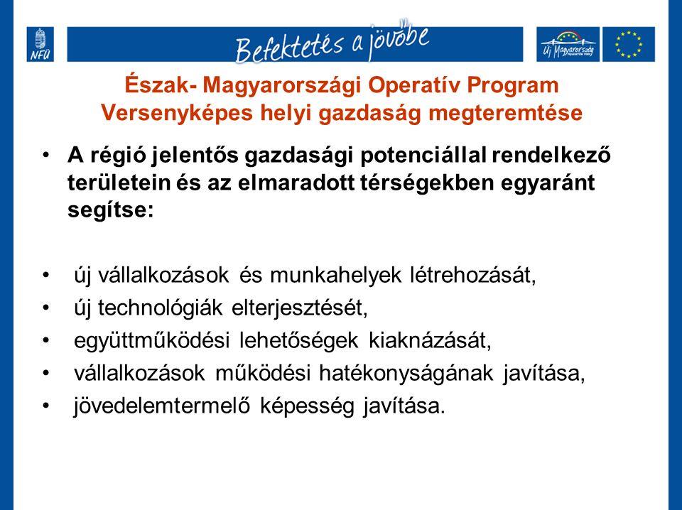 Észak- Magyarországi Operatív Program Versenyképes helyi gazdaság megteremtése A régió jelentős gazdasági potenciállal rendelkező területein és az elmaradott térségekben egyaránt segítse: új vállalkozások és munkahelyek létrehozását, új technológiák elterjesztését, együttműködési lehetőségek kiaknázását, vállalkozások működési hatékonyságának javítása, jövedelemtermelő képesség javítása.
