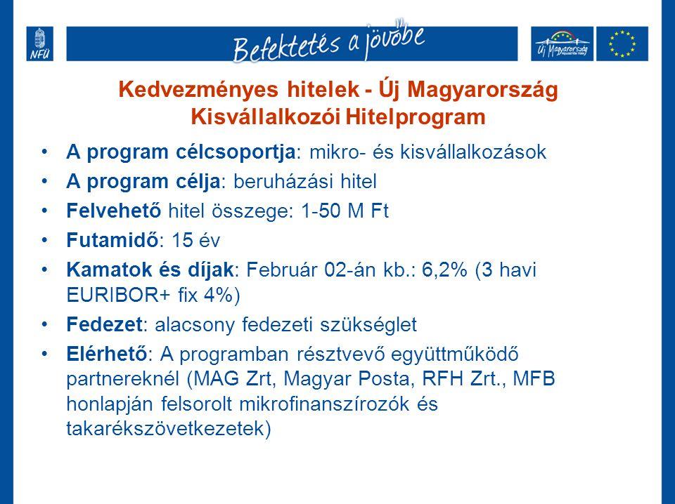 Kedvezményes hitelek - Új Magyarország Kisvállalkozói Hitelprogram A program célcsoportja: mikro- és kisvállalkozások A program célja: beruházási hitel Felvehető hitel összege: 1-50 M Ft Futamidő: 15 év Kamatok és díjak: Február 02-án kb.: 6,2% (3 havi EURIBOR+ fix 4%) Fedezet: alacsony fedezeti szükséglet Elérhető: A programban résztvevő együttműködő partnereknél (MAG Zrt, Magyar Posta, RFH Zrt., MFB honlapján felsorolt mikrofinanszírozók és takarékszövetkezetek)