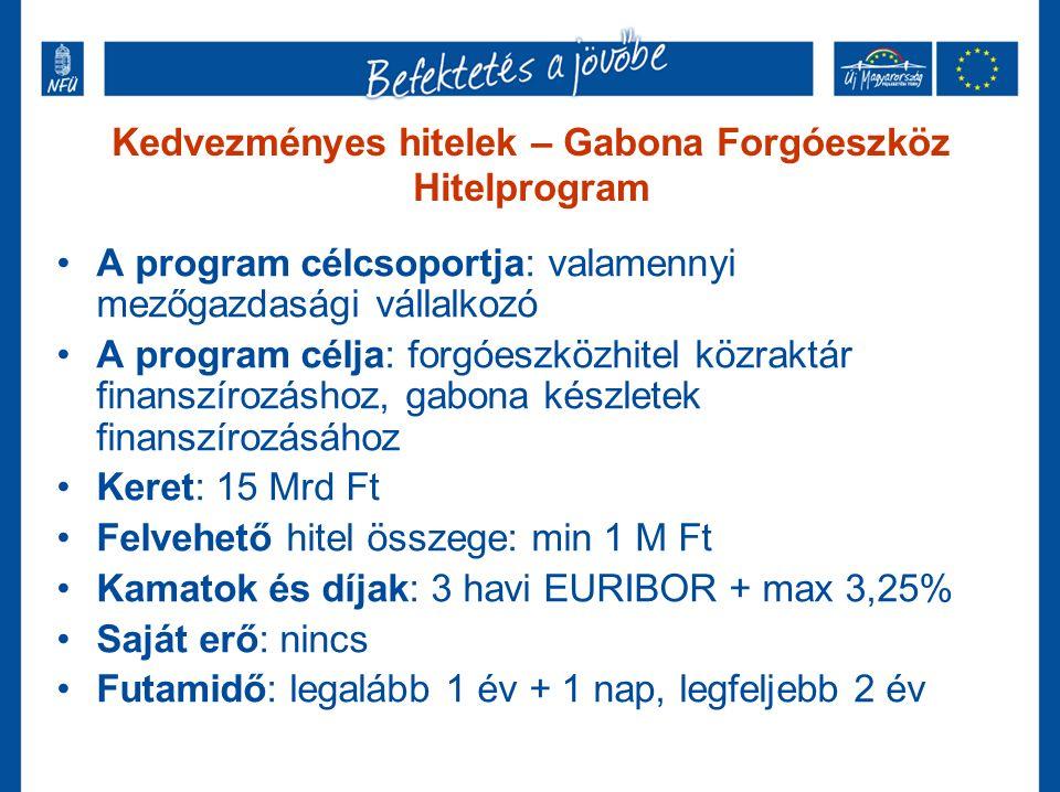 Kedvezményes hitelek – Gabona Forgóeszköz Hitelprogram A program célcsoportja: valamennyi mezőgazdasági vállalkozó A program célja: forgóeszközhitel közraktár finanszírozáshoz, gabona készletek finanszírozásához Keret: 15 Mrd Ft Felvehető hitel összege: min 1 M Ft Kamatok és díjak: 3 havi EURIBOR + max 3,25% Saját erő: nincs Futamidő: legalább 1 év + 1 nap, legfeljebb 2 év