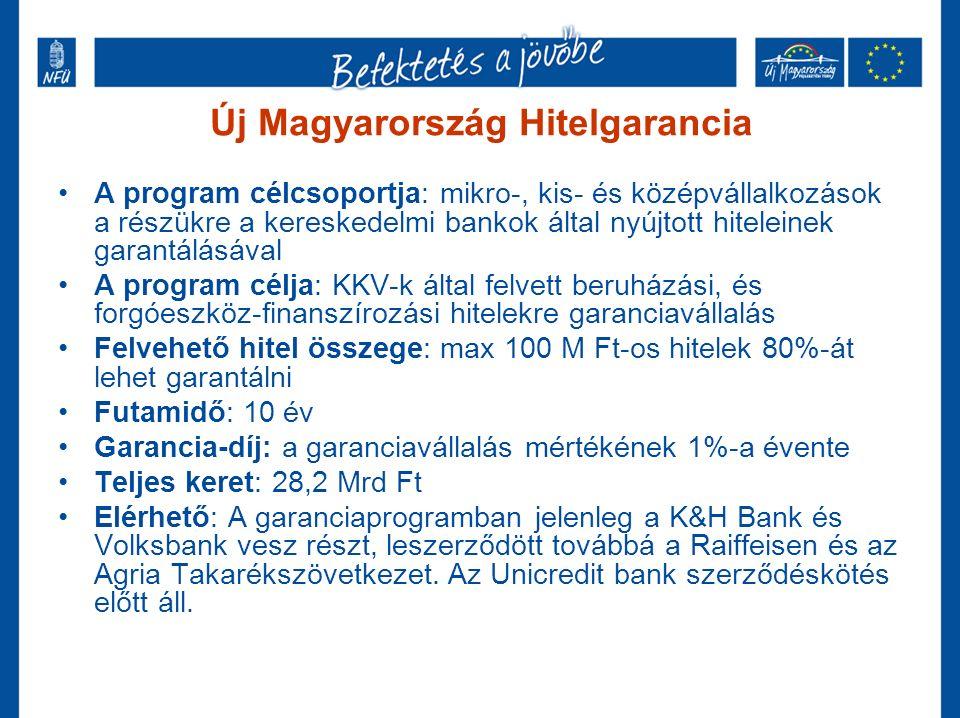 Új Magyarország Hitelgarancia A program célcsoportja: mikro-, kis- és középvállalkozások a részükre a kereskedelmi bankok által nyújtott hiteleinek garantálásával A program célja: KKV-k által felvett beruházási, és forgóeszköz-finanszírozási hitelekre garanciavállalás Felvehető hitel összege: max 100 M Ft-os hitelek 80%-át lehet garantálni Futamidő: 10 év Garancia-díj: a garanciavállalás mértékének 1%-a évente Teljes keret: 28,2 Mrd Ft Elérhető: A garanciaprogramban jelenleg a K&H Bank és Volksbank vesz részt, leszerződött továbbá a Raiffeisen és az Agria Takarékszövetkezet.