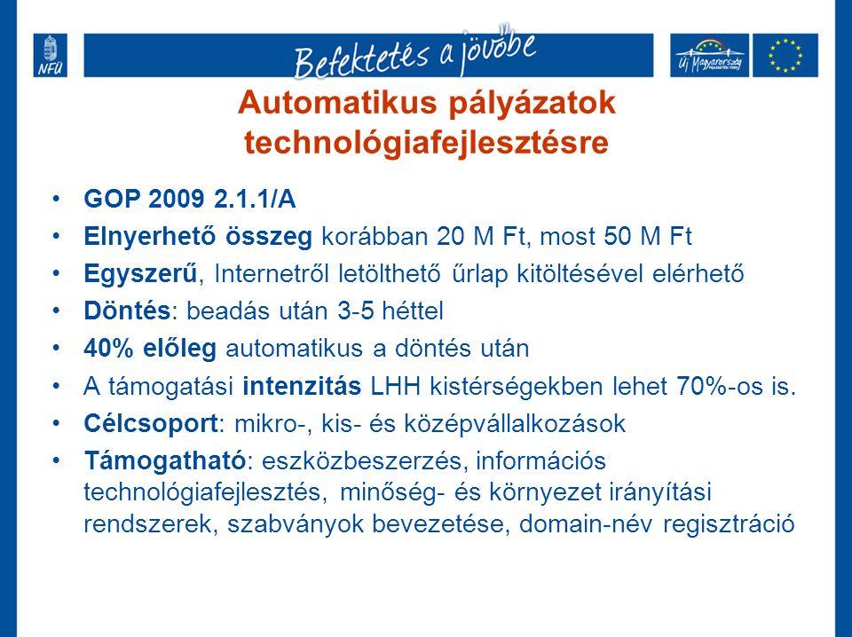 Automatikus pályázatok technológiafejlesztésre GOP 2009 2.1.1/A Elnyerhető összeg korábban 20 M Ft, most 50 M Ft Egyszerű, Internetről letölthető űrlap kitöltésével elérhető Döntés: beadás után 3-5 héttel 40% előleg automatikus a döntés után A támogatási intenzitás LHH kistérségekben lehet 70%-os is.