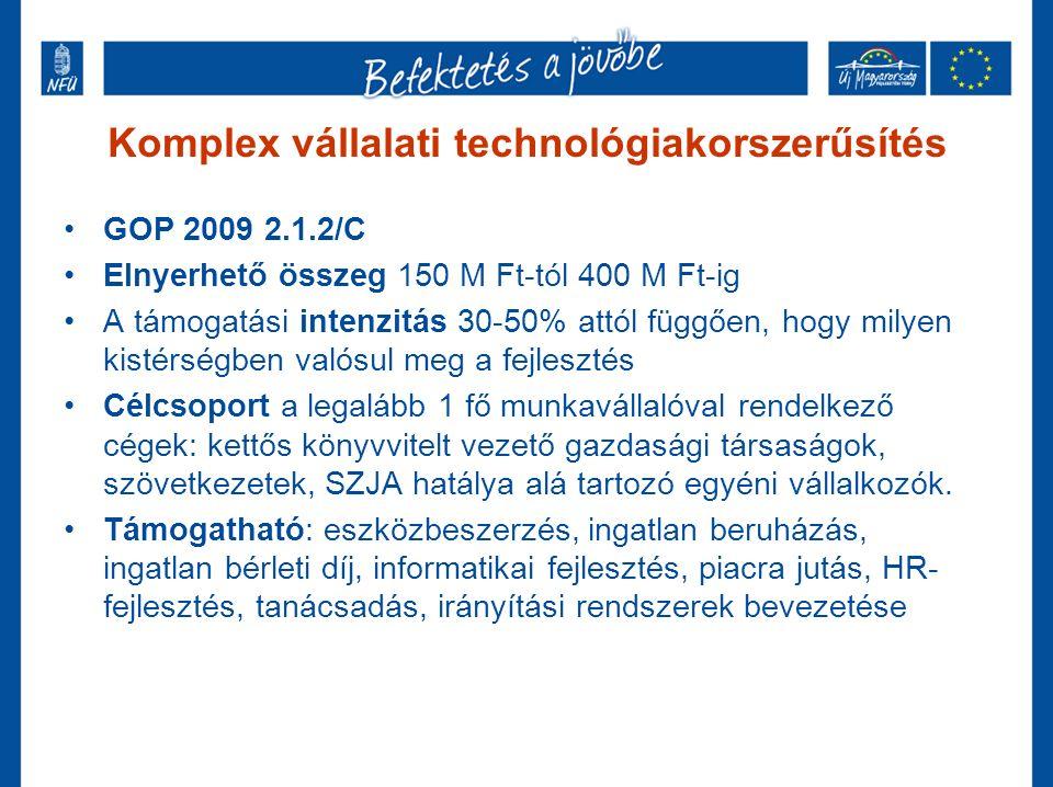 Komplex vállalati technológiakorszerűsítés GOP 2009 2.1.2/C Elnyerhető összeg 150 M Ft-tól 400 M Ft-ig A támogatási intenzitás 30-50% attól függően, hogy milyen kistérségben valósul meg a fejlesztés Célcsoport a legalább 1 fő munkavállalóval rendelkező cégek: kettős könyvvitelt vezető gazdasági társaságok, szövetkezetek, SZJA hatálya alá tartozó egyéni vállalkozók.