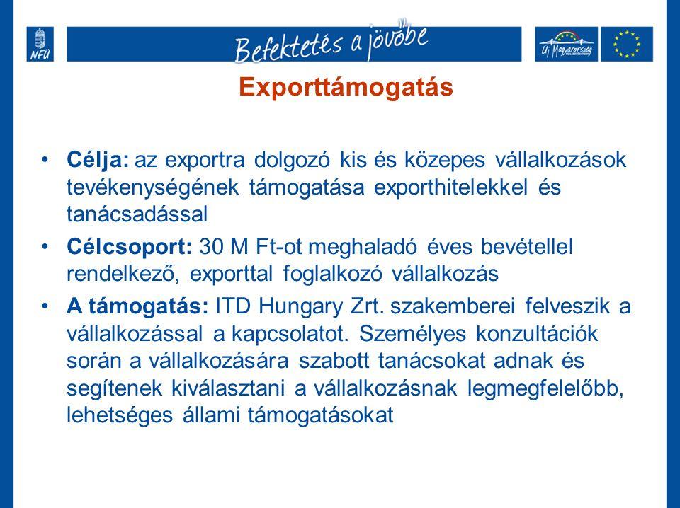 Exporttámogatás Célja: az exportra dolgozó kis és közepes vállalkozások tevékenységének támogatása exporthitelekkel és tanácsadással Célcsoport: 30 M Ft-ot meghaladó éves bevétellel rendelkező, exporttal foglalkozó vállalkozás A támogatás: ITD Hungary Zrt.