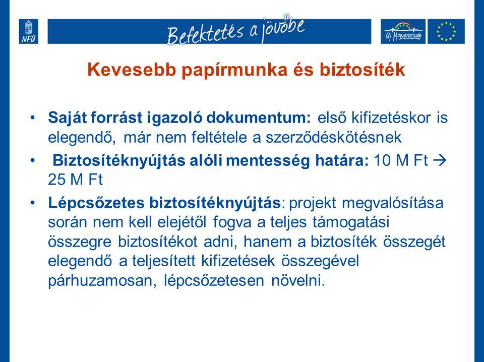 Kevesebb papírmunka és biztosíték Saját forrást igazoló dokumentum: első kifizetéskor is elegendő, már nem feltétele a szerződéskötésnek Biztosítéknyújtás alóli mentesség határa: 10 M Ft  25 M Ft Lépcsőzetes biztosítéknyújtás: projekt megvalósítása során nem kell elejétől fogva a teljes támogatási összegre biztosítékot adni, hanem a biztosíték összegét elegendő a teljesített kifizetések összegével párhuzamosan, lépcsőzetesen növelni.