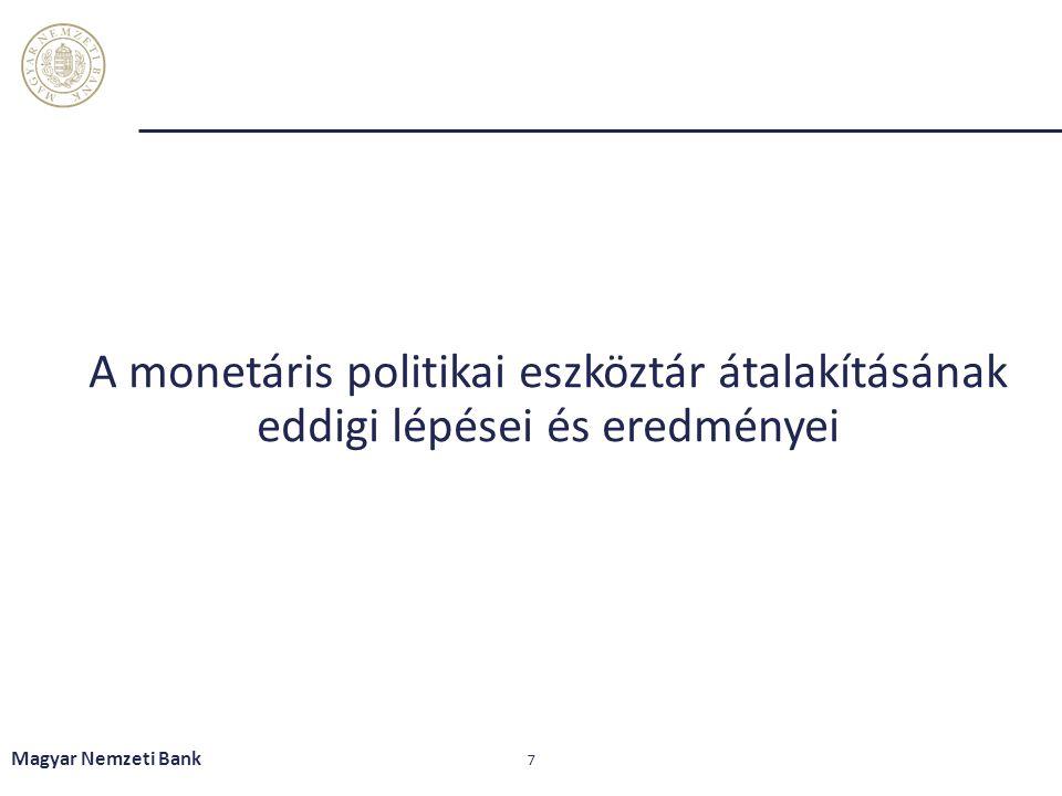 A monetáris politikai eszköztár átalakításának eddigi lépései és eredményei Magyar Nemzeti Bank 7
