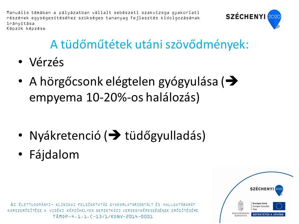 A tüdőműtétek utáni szövődmények: Vérzés A hörgőcsonk elégtelen gyógyulása (  empyema 10-20%-os halálozás) Nyákretenció (  tüdőgyulladás) Fájdalom Manuális témában a pályázatban vállalt sebészeti szakvizsga gyakorlati részének egységesítéséhez szükséges tananyag fejlesztés kidolgozásának irányítása Képzők képzése A Z ÉLETTUDOMÁNYI - KLINIKAI FELSŐOKTATÁS GYAKORLATORIENTÁLT ÉS HALLGATÓBARÁT KORSZERŰSÍTÉSE A VIDÉKI KÉPZŐHELYEK NEMZETKÖZI VERSENYKÉPESSÉGÉNEK ERŐSÍTÉSÉRE TÁMOP-4.1.1.C-13/1/KONV-2014-0001