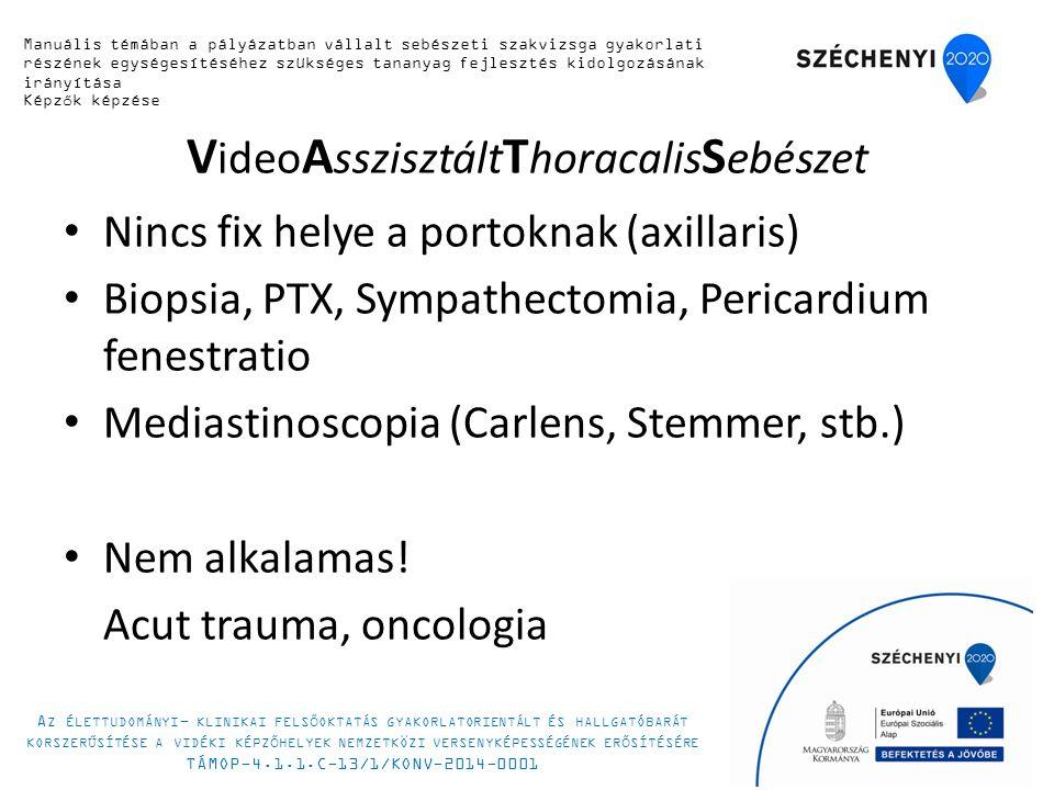 V ideo A sszisztált T horacalis S ebészet Nincs fix helye a portoknak (axillaris) Biopsia, PTX, Sympathectomia, Pericardium fenestratio Mediastinoscopia (Carlens, Stemmer, stb.) Nem alkalamas.