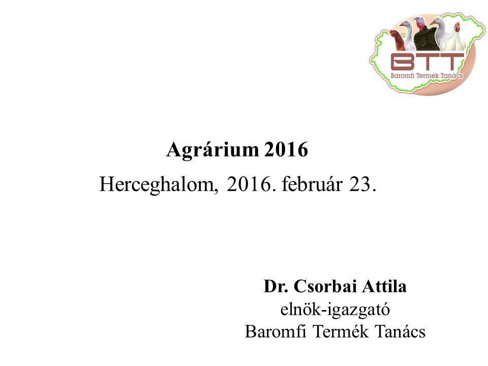 Dr. Csorbai Attila elnök-igazgató Baromfi Termék Tanács Herceghalom, 2016.