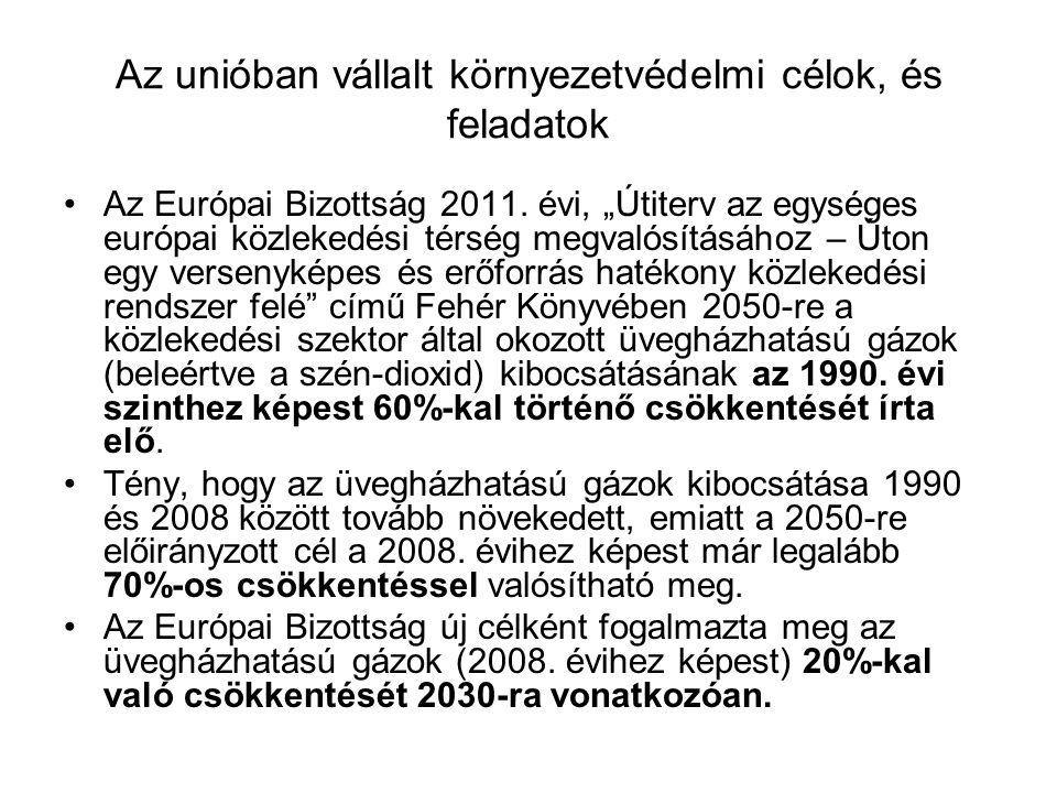 """Az unióban vállalt környezetvédelmi célok, és feladatok Az Eu-s bizottság a Fehér Könyvben megállapítja: """"A gyakorlatban ez azt jelenti, hogy a közlekedésnek kevesebb és tisztább energiát kell felhasználnia, jobban kell gazdálkodnia a korszerű infrastruktúrával, valamint csökkentenie kell a környezetre (…) gyakorolt káros hatását Az uniós célok teljesítése érdekében ugyan akkor kétséges az ismert műszaki megoldásokkal a dízelvontatású üzem káros anyag kibocsátásának olyan mértékű csökkentése, hogy az uniós célokat maradéktalanul teljesítse a vasút."""