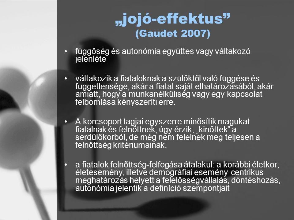 """""""jojó-effektus (Gaudet 2007) függőség és autonómia együttes vagy váltakozó jelenléte váltakozik a fiataloknak a szülőktől való függése és függetlensége, akár a fiatal saját elhatározásából, akár amiatt, hogy a munkanélküliség vagy egy kapcsolat felbomlása kényszeríti erre."""