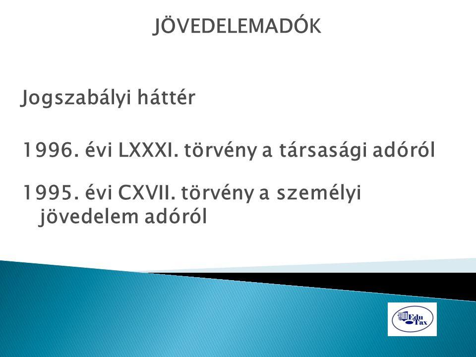 JÖVEDELEMADÓK Jogszabályi háttér 1996. évi LXXXI. törvény a társasági adóról 1995. évi CXVII. törvény a személyi jövedelem adóról