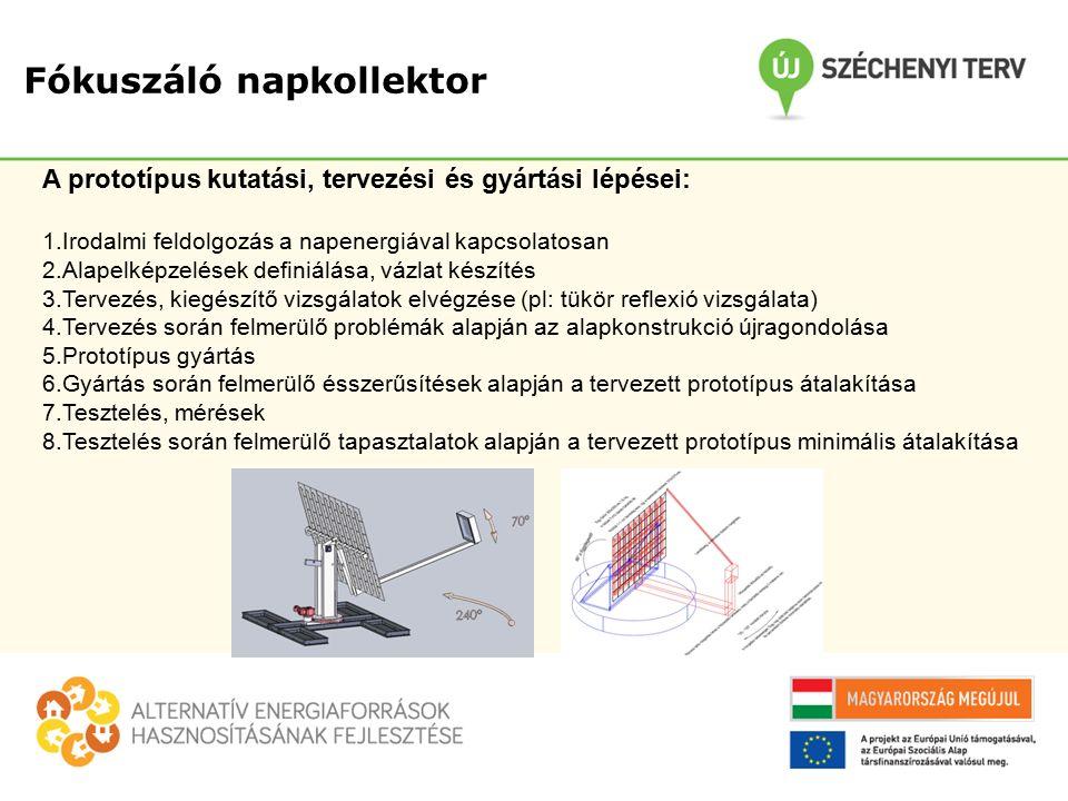 Fókuszáló napkollektor A prototípus kutatási, tervezési és gyártási lépései: 1.Irodalmi feldolgozás a napenergiával kapcsolatosan 2.Alapelképzelések definiálása, vázlat készítés 3.Tervezés, kiegészítő vizsgálatok elvégzése (pl: tükör reflexió vizsgálata) 4.Tervezés során felmerülő problémák alapján az alapkonstrukció újragondolása 5.Prototípus gyártás 6.Gyártás során felmerülő ésszerűsítések alapján a tervezett prototípus átalakítása 7.Tesztelés, mérések 8.Tesztelés során felmerülő tapasztalatok alapján a tervezett prototípus minimális átalakítása