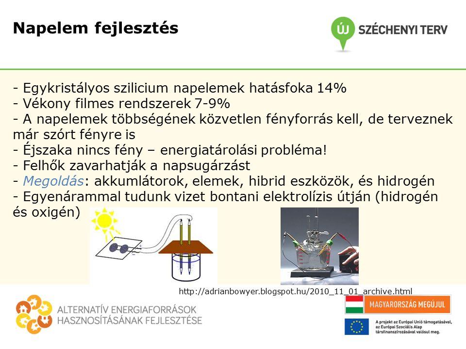 Napelem fejlesztés - Egykristályos szilicium napelemek hatásfoka 14% - Vékony filmes rendszerek 7-9% - A napelemek többségének közvetlen fényforrás kell, de terveznek már szórt fényre is - Éjszaka nincs fény – energiatárolási probléma.