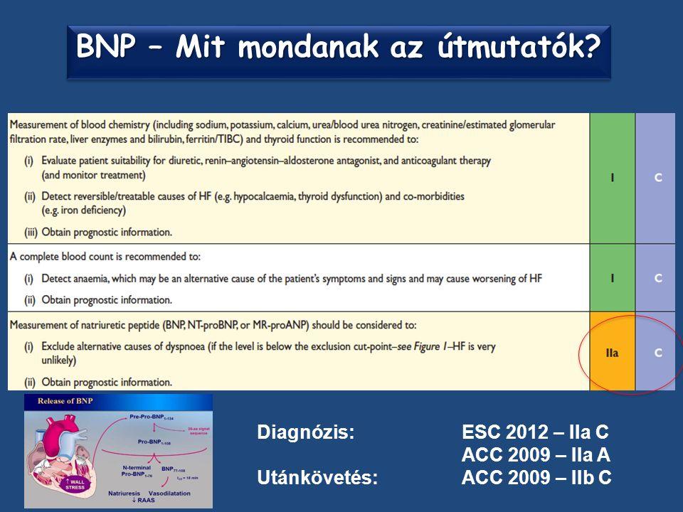Diagnózis: ESC 2012 – IIa C ACC 2009 – IIa A Utánkövetés:ACC 2009 – IIb C BNP – Mit mondanak az útmutatók?