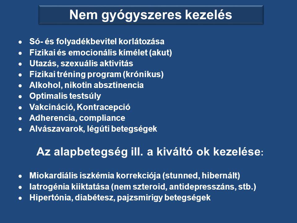 Nem gyógyszeres kezelés  Só- és folyadékbevitel korlátozása  Fizikai és emocionális kímélet (akut)  Utazás, szexuális aktivitás  Fizikai tréning program (krónikus)  Alkohol, nikotin absztinencia  Optimalis testsúly  Vakcináció, Kontracepció  Adherencia, compliance  Alvászavarok, légúti betegségek Az alapbetegség ill.