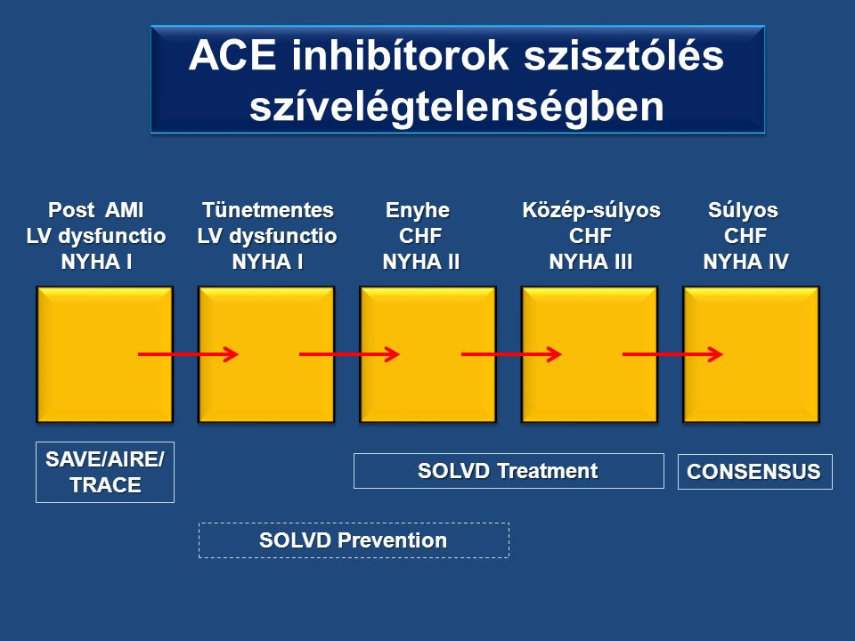 Post AMI LV dysfunctio NYHA I EnyheCHF NYHA II Közép-súlyosCHF NYHA III SúlyosCHF NYHA IV SAVE/AIRE/TRACE SOLVD Treatment CONSENSUS SOLVD Prevention Tünetmentes LV dysfunctio NYHA I