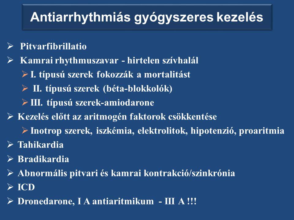 Antiarrhythmiás gyógyszeres kezelés  Pitvarfibrillatio  Kamrai rhythmuszavar - hirtelen szívhalál  I.