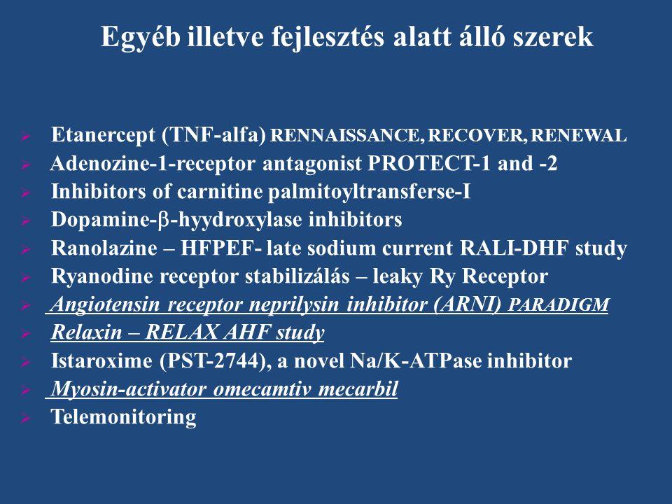  Etanercept (TNF-alfa) RENNAISSANCE, RECOVER, RENEWAL  Adenozine-1-receptor antagonist PROTECT-1 and -2  Inhibitors of carnitine palmitoyltransferse-I  Dopamine-  -hyydroxylase inhibitors  Ranolazine – HFPEF- late sodium current RALI-DHF study  Ryanodine receptor stabilizálás – leaky Ry Receptor  Angiotensin receptor neprilysin inhibitor (ARNI) PARADIGM  Relaxin – RELAX AHF study  Istaroxime (PST-2744), a novel Na/K-ATPase inhibitor  Myosin-activator omecamtiv mecarbil  Telemonitoring Egyéb illetve fejlesztés alatt álló szerek