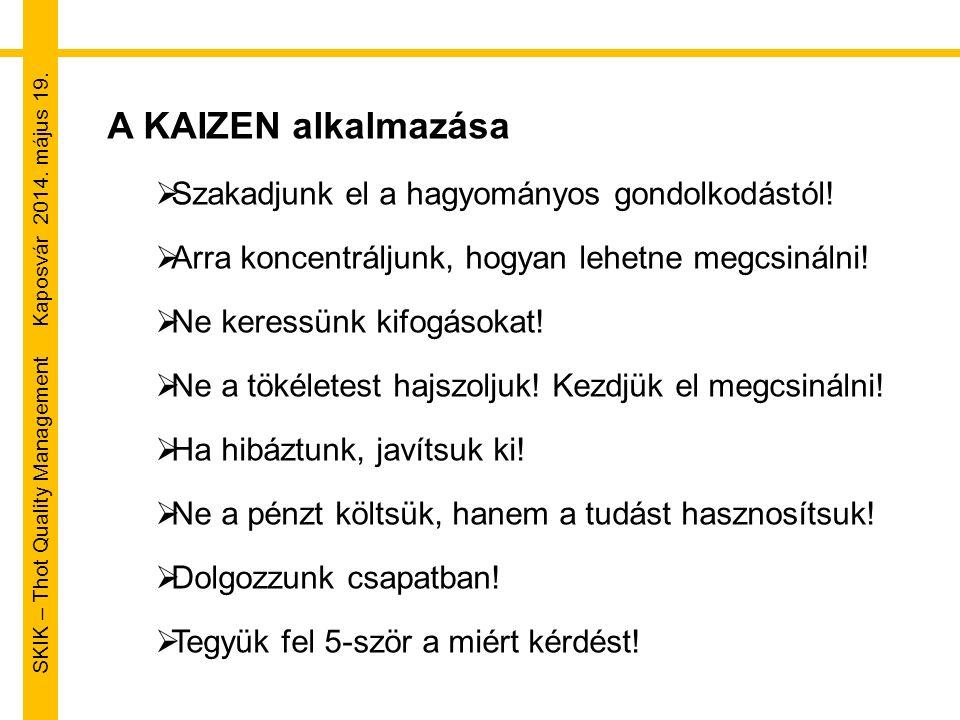 SKIK – Thot Quality Management Kaposvár 2014. május 19. A KAIZEN alkalmazása  Szakadjunk el a hagyományos gondolkodástól!  Arra koncentráljunk, hogy