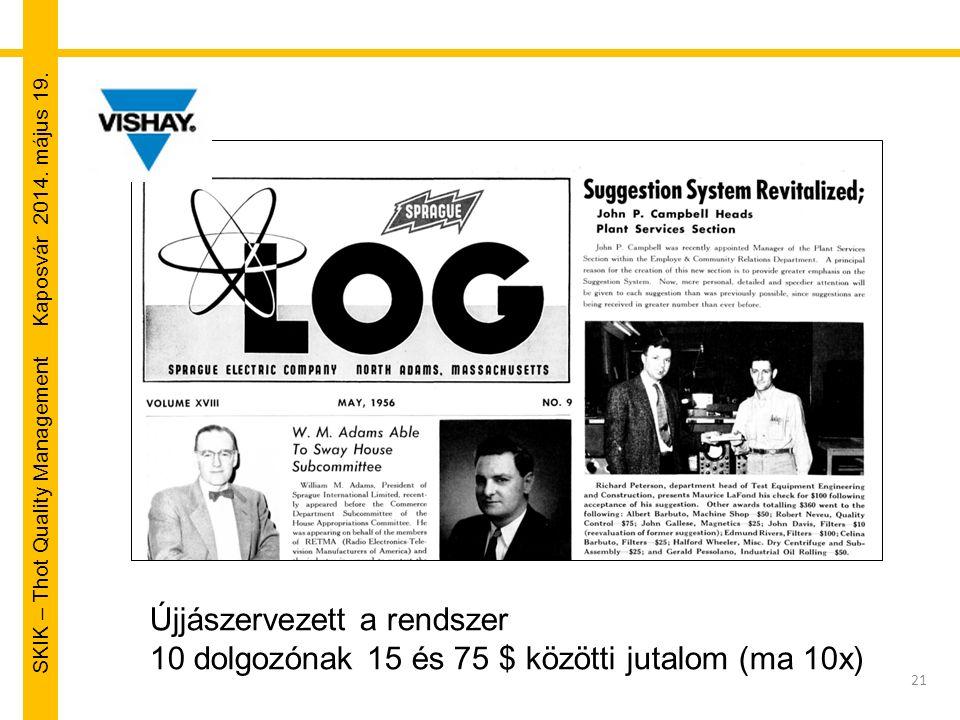 SKIK – Thot Quality Management Kaposvár 2014. május 19. 21 Újjászervezett a rendszer 10 dolgozónak 15 és 75 $ közötti jutalom (ma 10x)
