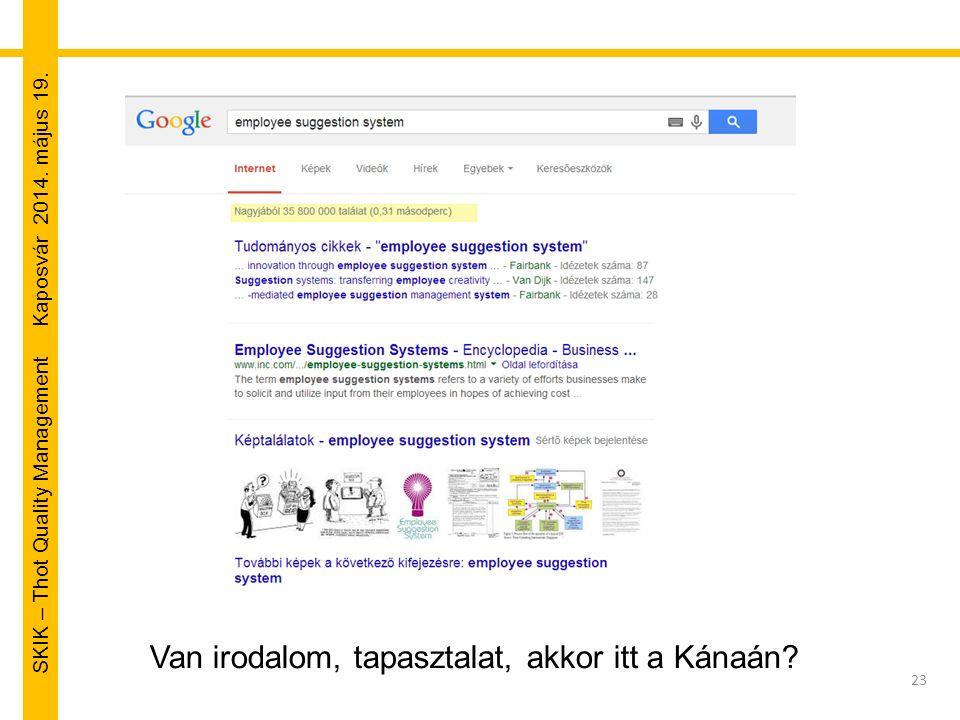 SKIK – Thot Quality Management Kaposvár 2014. május 19. 23 Van irodalom, tapasztalat, akkor itt a Kánaán?
