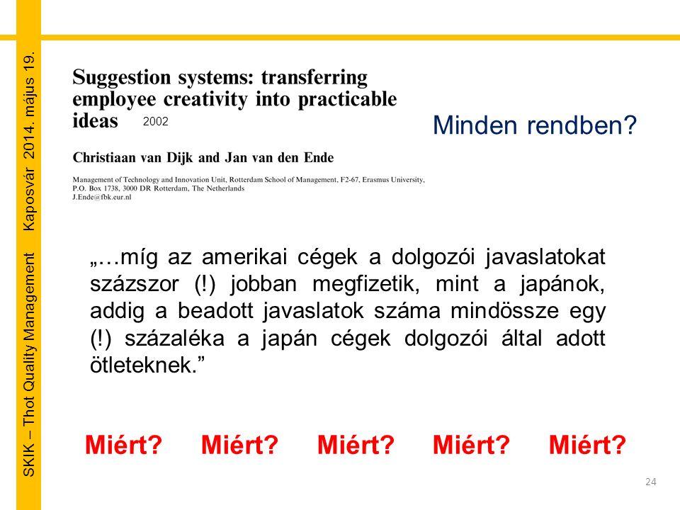 """SKIK – Thot Quality Management Kaposvár 2014. május 19. 24 Minden rendben? """"…míg az amerikai cégek a dolgozói javaslatokat százszor (!) jobban megfize"""