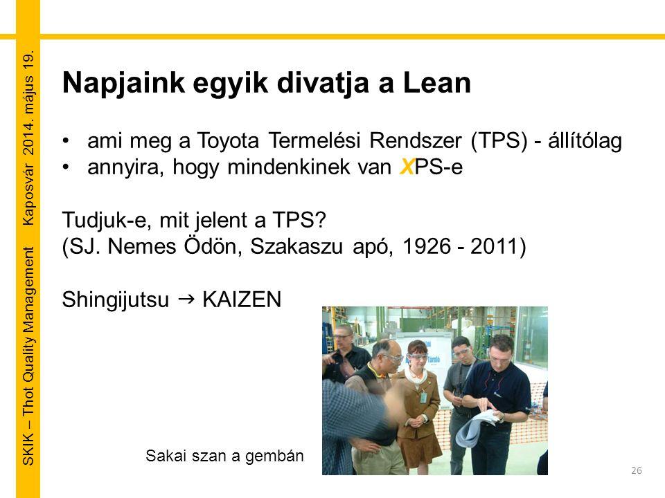 SKIK – Thot Quality Management Kaposvár 2014. május 19. 26 Napjaink egyik divatja a Lean ami meg a Toyota Termelési Rendszer (TPS) - állítólag annyira