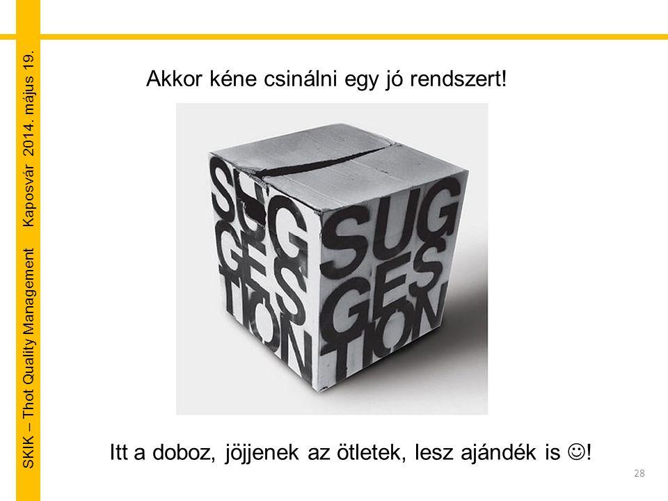 SKIK – Thot Quality Management Kaposvár 2014. május 19. 28 Akkor kéne csinálni egy jó rendszert! Itt a doboz, jöjjenek az ötletek, lesz ajándék is !
