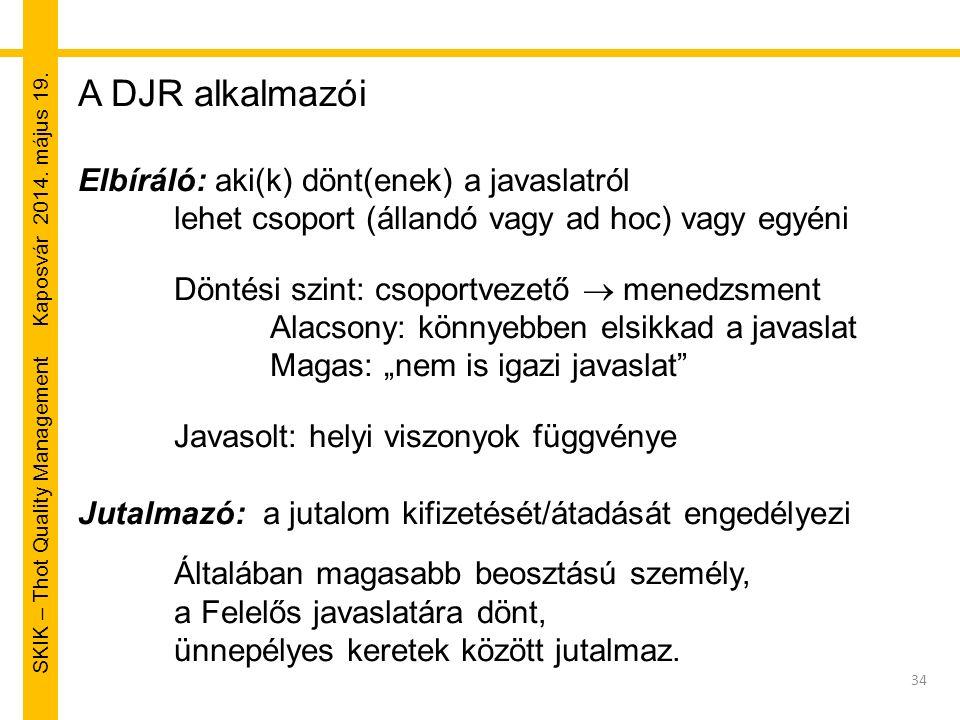 SKIK – Thot Quality Management Kaposvár 2014. május 19. 34 A DJR alkalmazói Elbíráló: aki(k) dönt(enek) a javaslatról lehet csoport (állandó vagy ad h