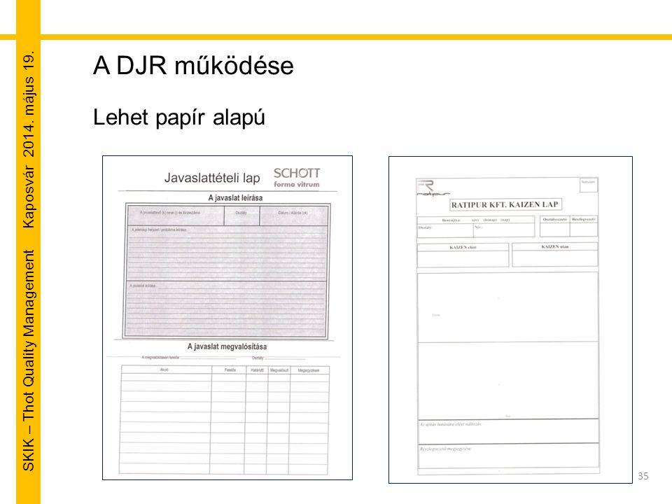 SKIK – Thot Quality Management Kaposvár 2014. május 19. 35 A DJR működése Lehet papír alapú