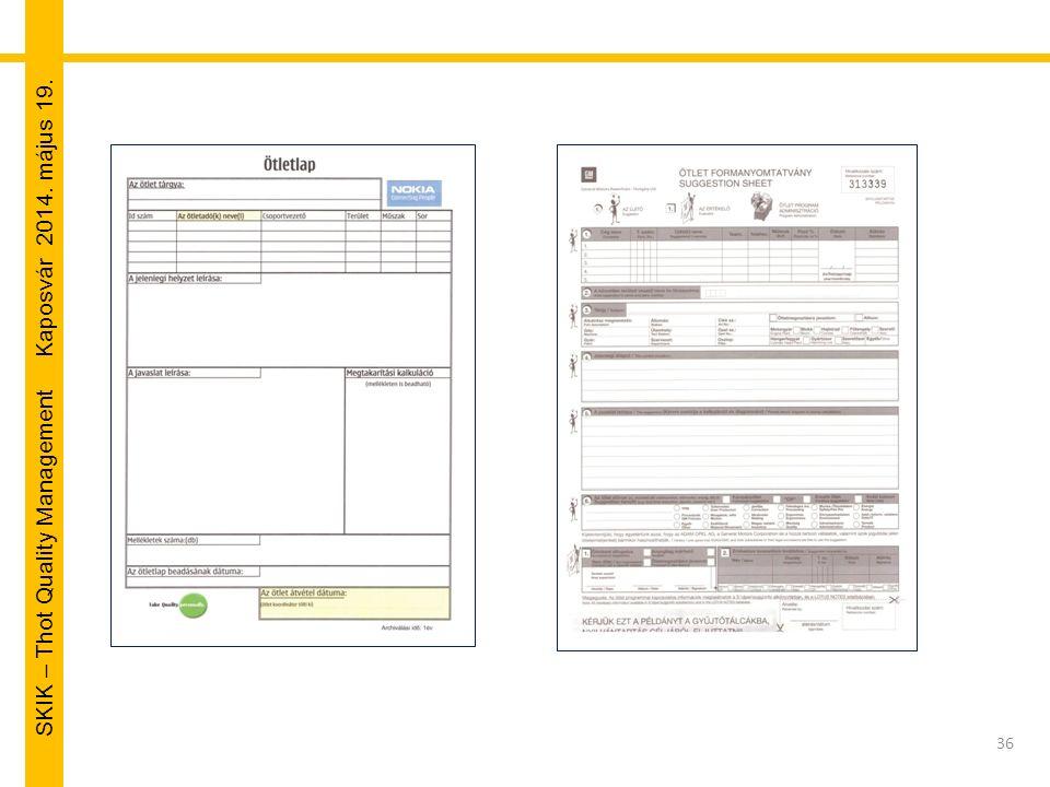 SKIK – Thot Quality Management Kaposvár 2014. május 19. 36