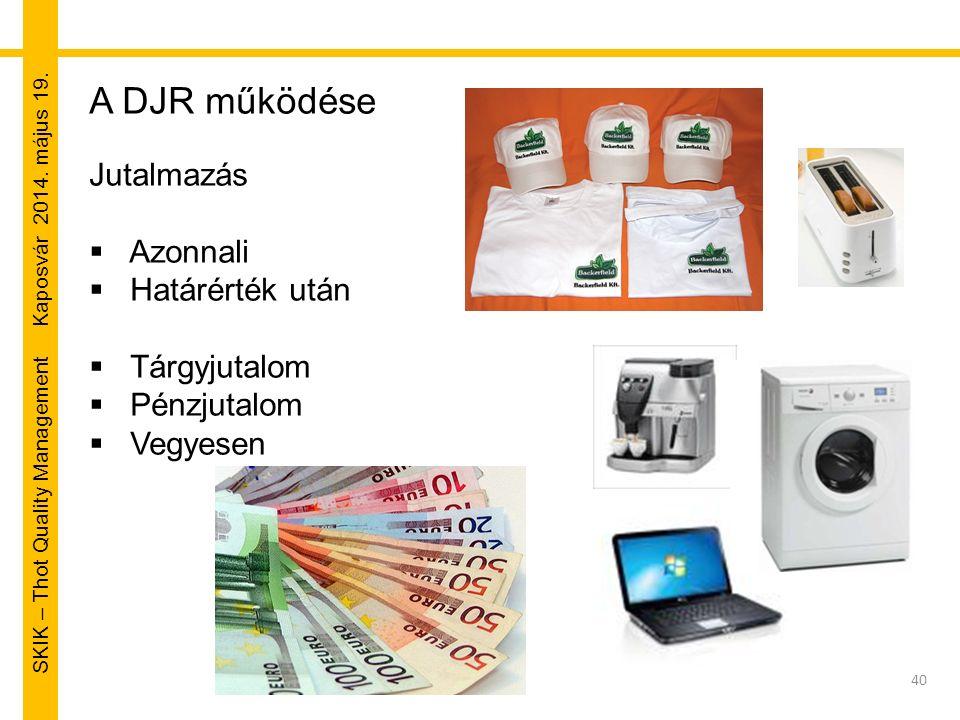 SKIK – Thot Quality Management Kaposvár 2014. május 19. 40 A DJR működése Jutalmazás  Azonnali  Határérték után  Tárgyjutalom  Pénzjutalom  Vegye