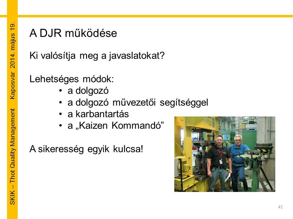 SKIK – Thot Quality Management Kaposvár 2014. május 19. 41 A DJR működése Ki valósítja meg a javaslatokat? Lehetséges módok: a dolgozó a dolgozó művez