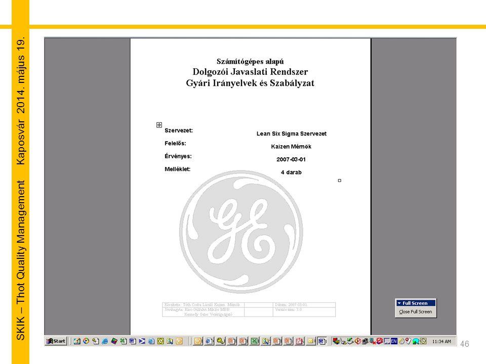 SKIK – Thot Quality Management Kaposvár 2014. május 19. 46
