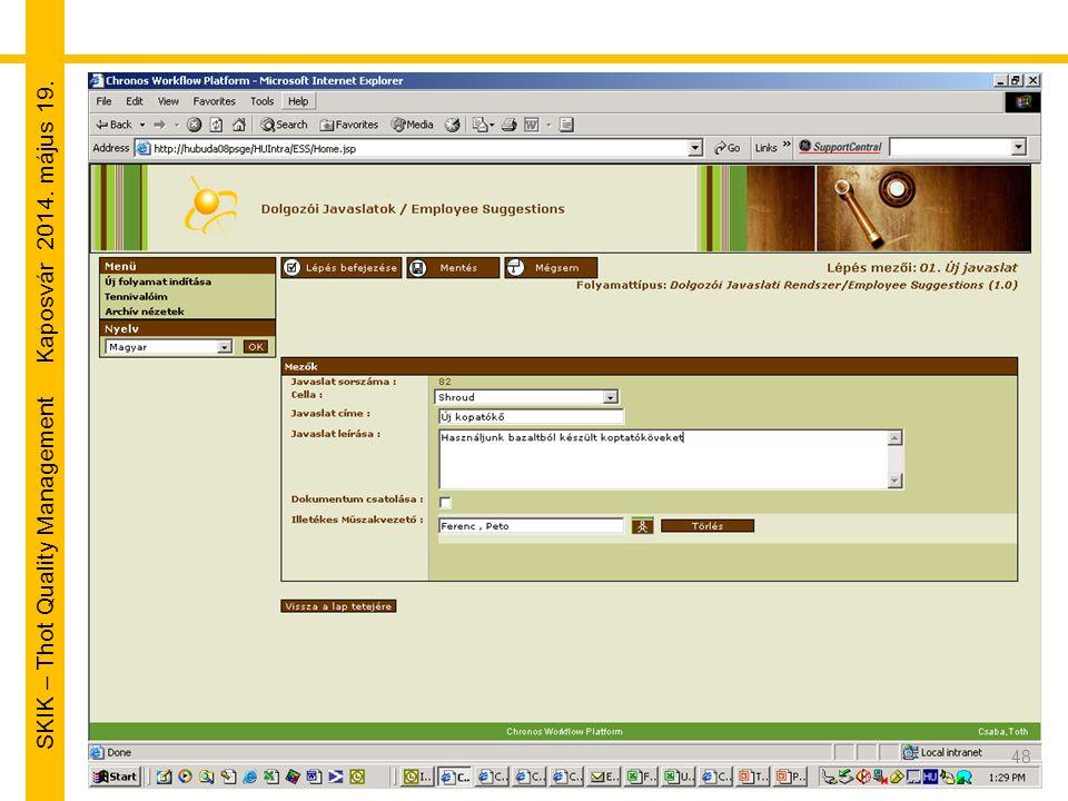 SKIK – Thot Quality Management Kaposvár 2014. május 19. 48