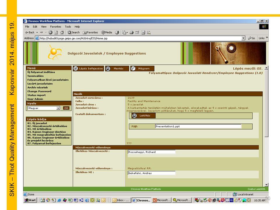 SKIK – Thot Quality Management Kaposvár 2014. május 19. 50